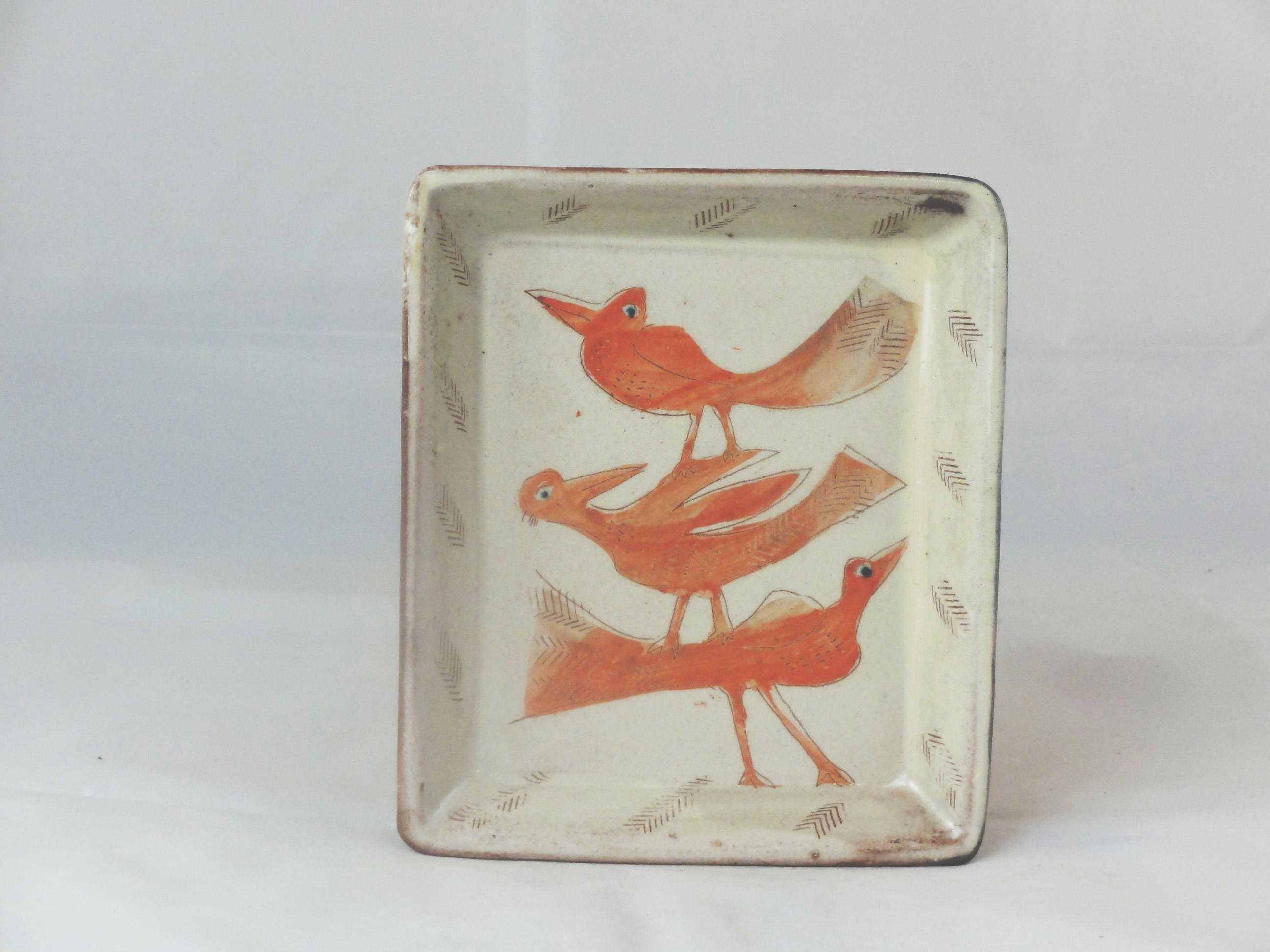 3 Vögel rot tablett groß