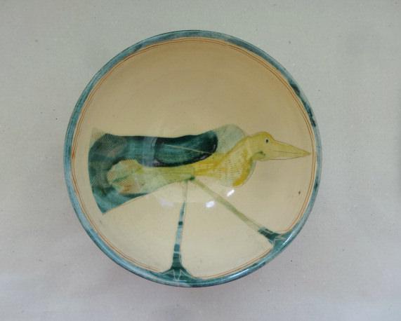 Schale Vogel limone-türkis