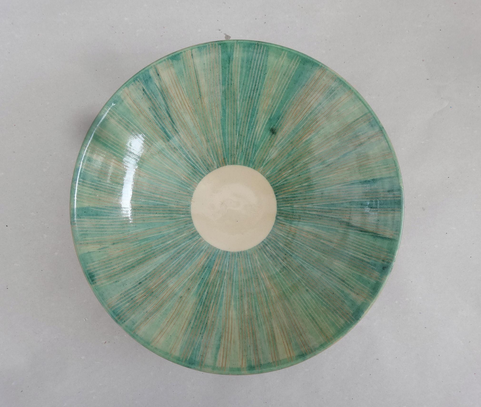 Tiefer Teller mintgrün gekämmt, 21 u. 23,5 cm