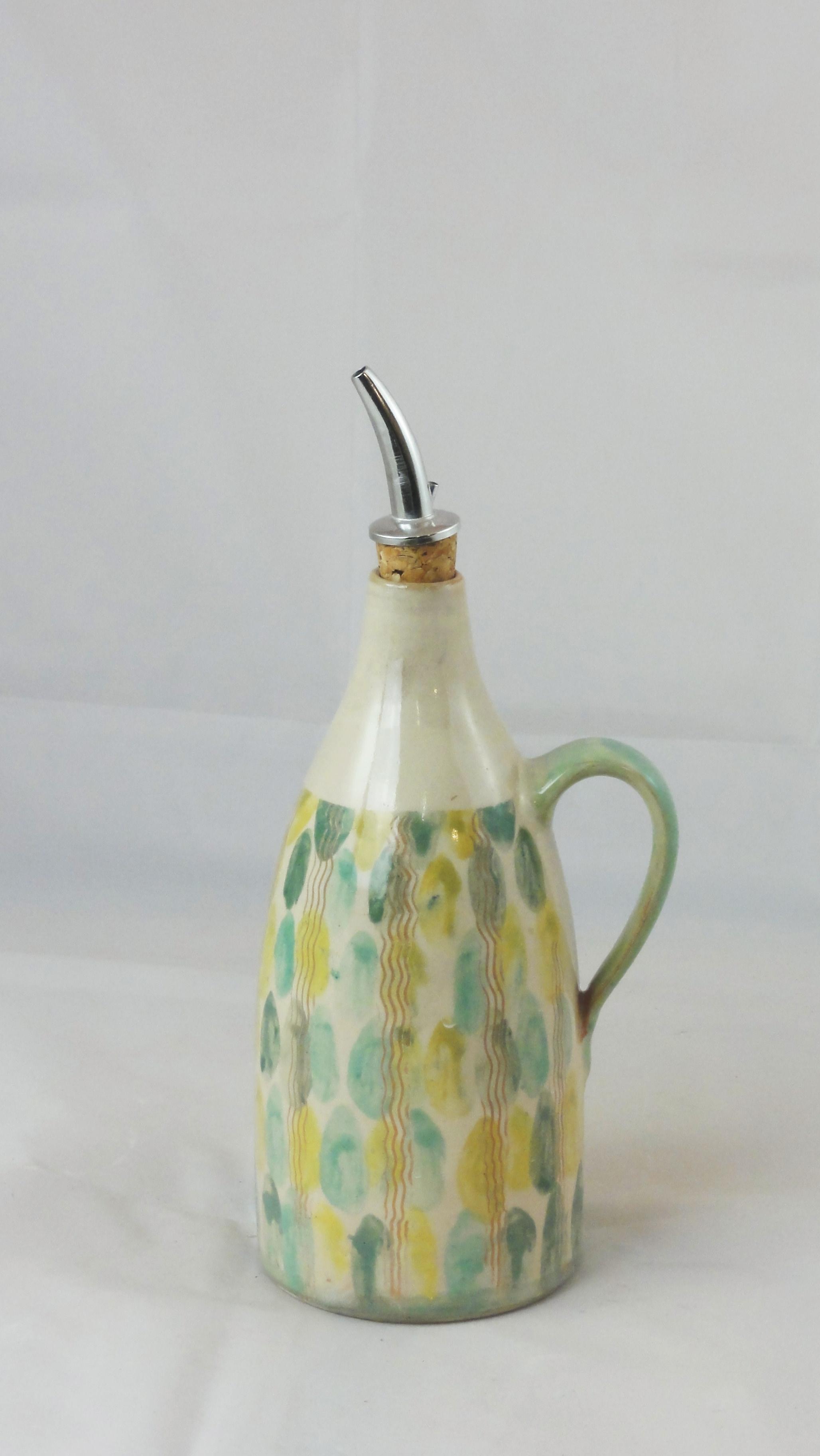 Ölkännchen Pinseldruck grüngrau-limone